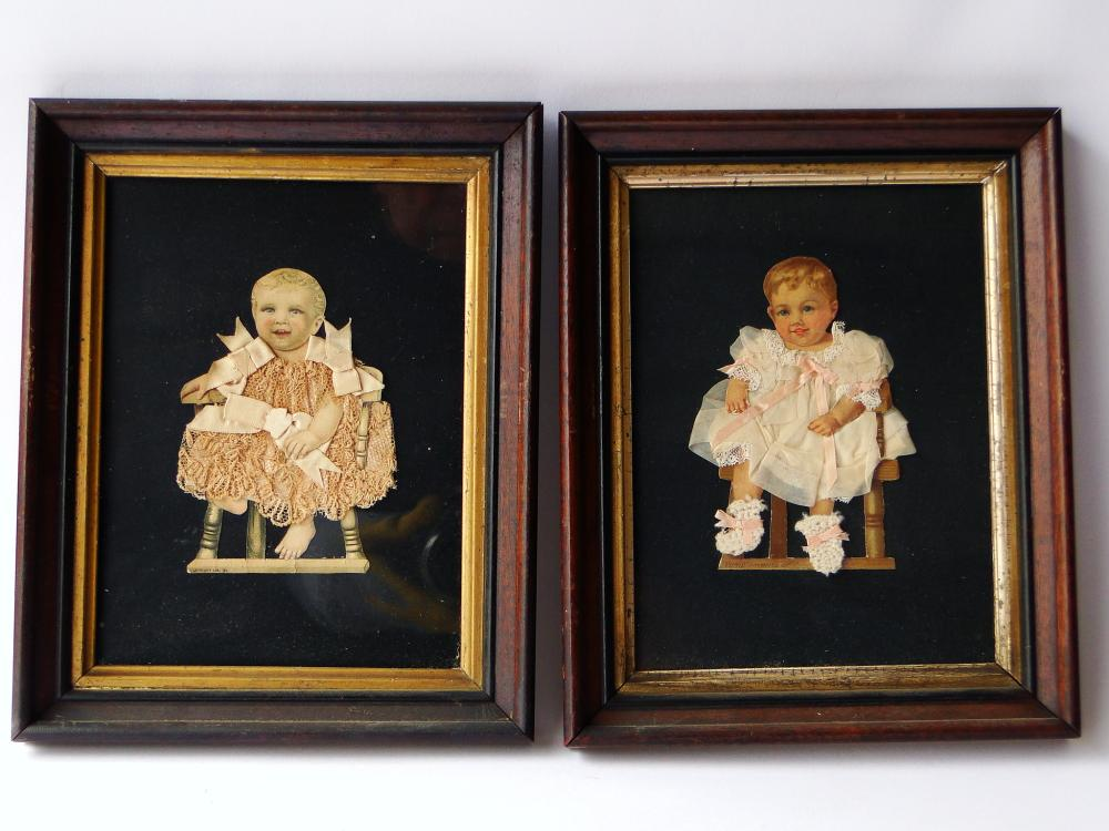 PAIR VICTORIAN BABY TEXTILE PICTURES