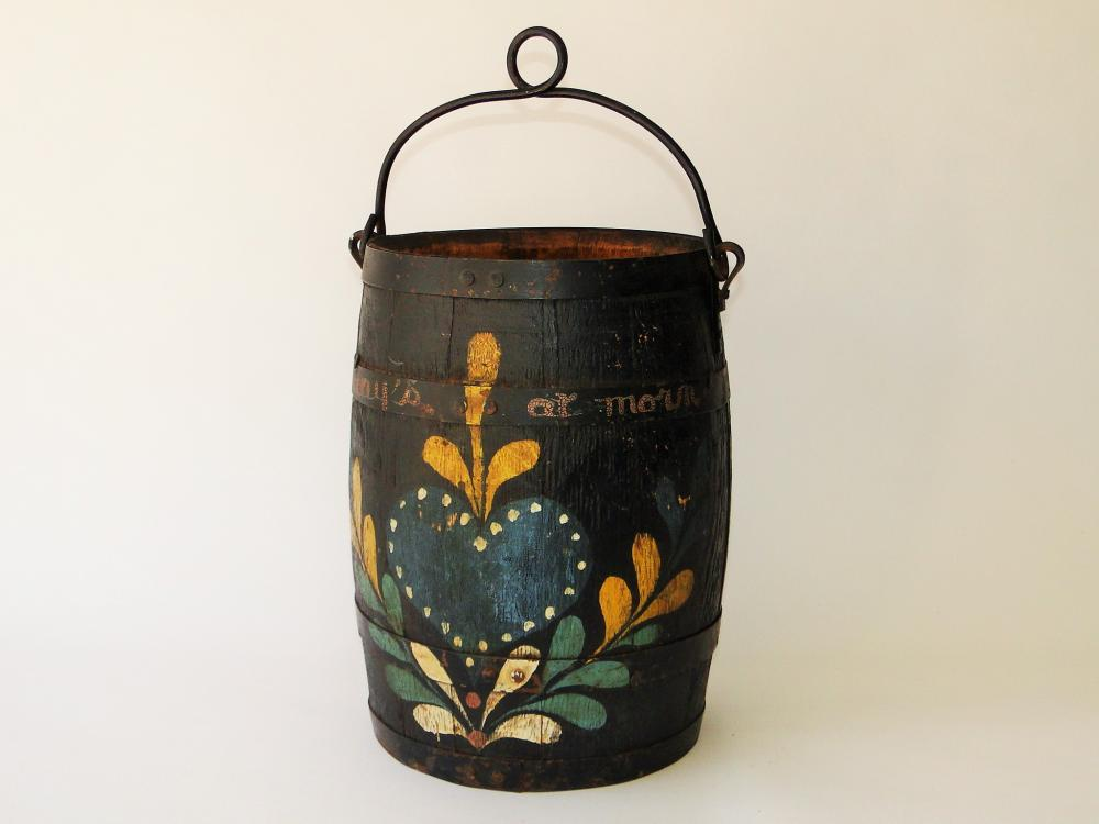 19TH C PA PAINT DECORATED WELL BUCKET