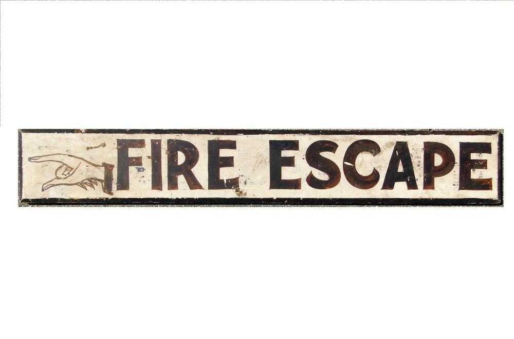 """ANTIQUE """"FIRE ESCAPE"""" WITH  POINTING HAND"""