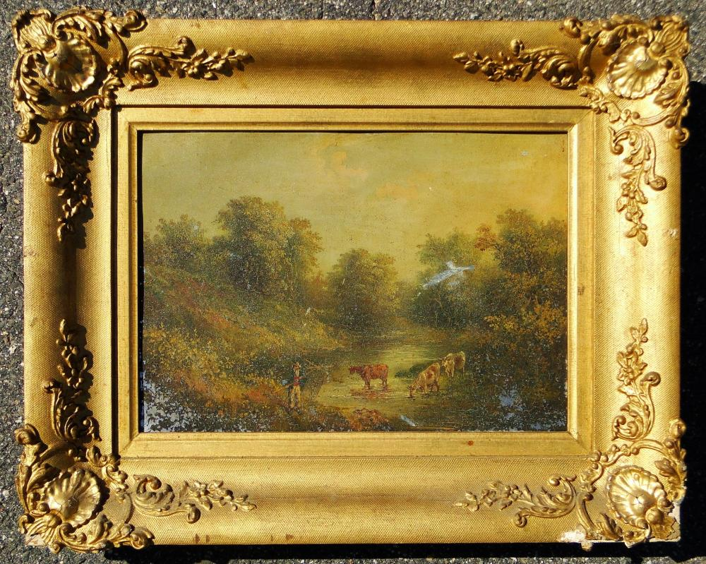 19TH C PAINTING OF COWS ON TIN