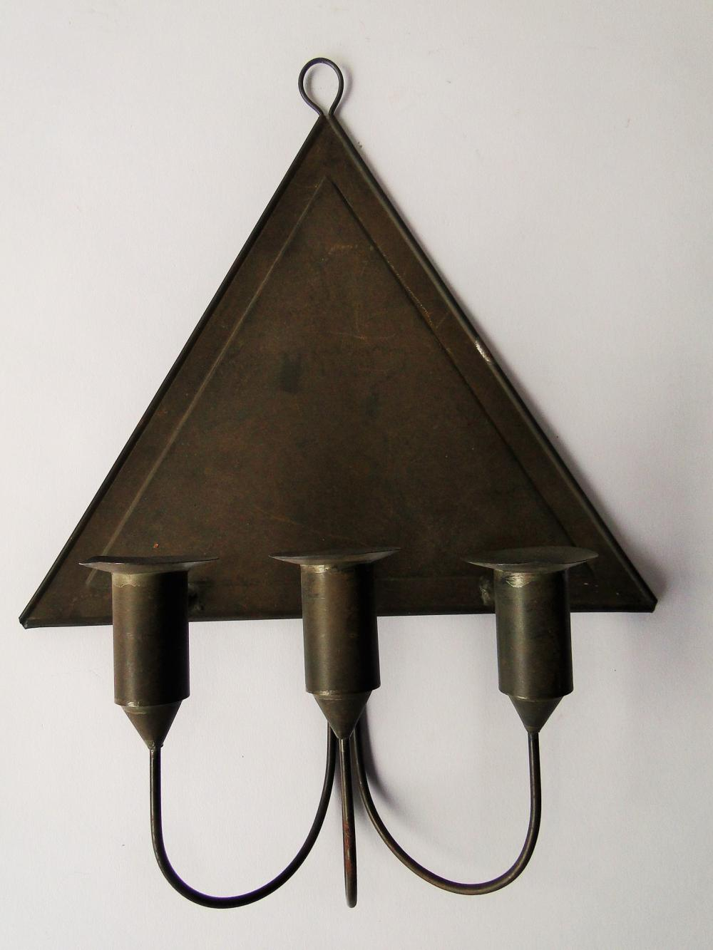 TIN THREE CANDLE WALL SCONCE