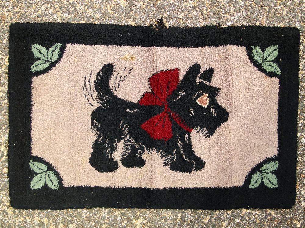 ANTIQUE HOOKED RUG SCOTTIE DOG