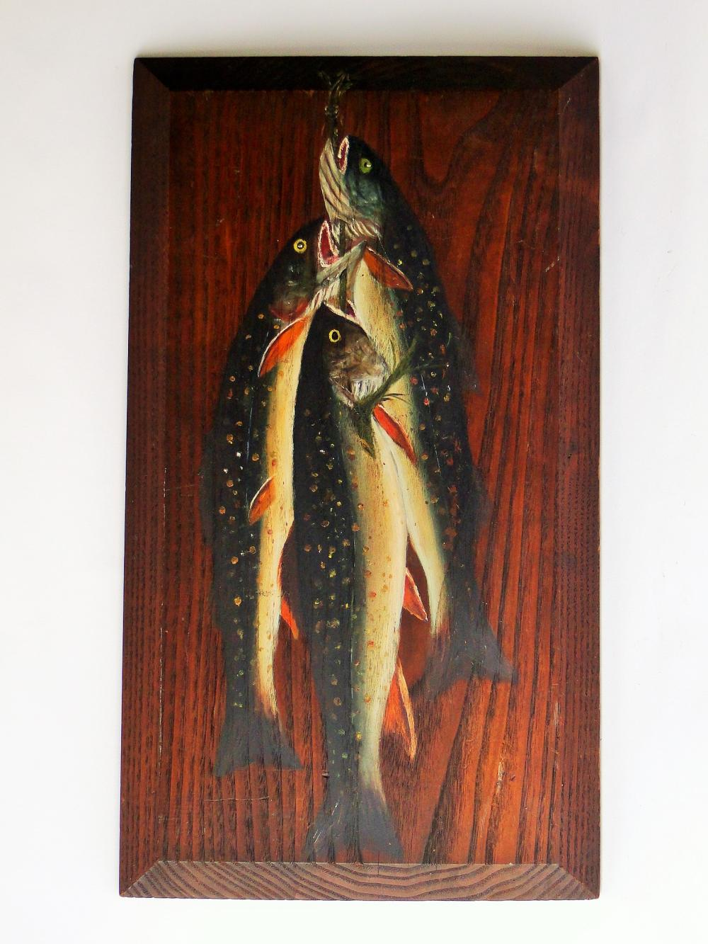 OIL PAINTING TROUT ON CHESTNUT PANEL