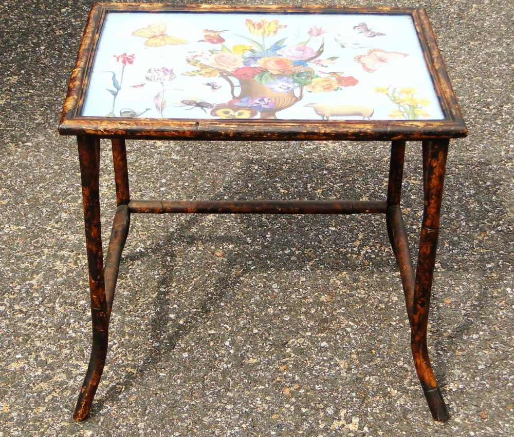 VINTAGE FAUX BAMBOO / METAL TABLE