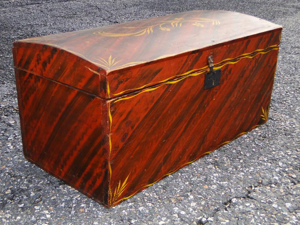 18TH C DECORATED DOME TOP BOX