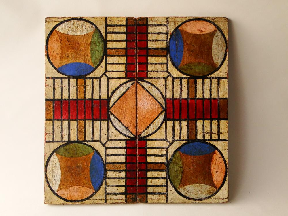 19TH C PAINTED PARCHEESI / CHECKERS GAMEBOARD