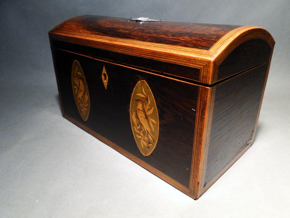18TH C DOME TOP TEA CADDY WITH BIRDS INLAID
