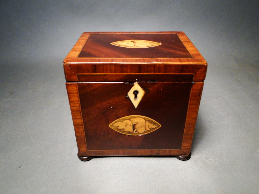 18TH C SQUARE TEA CADDY WITH INLAY