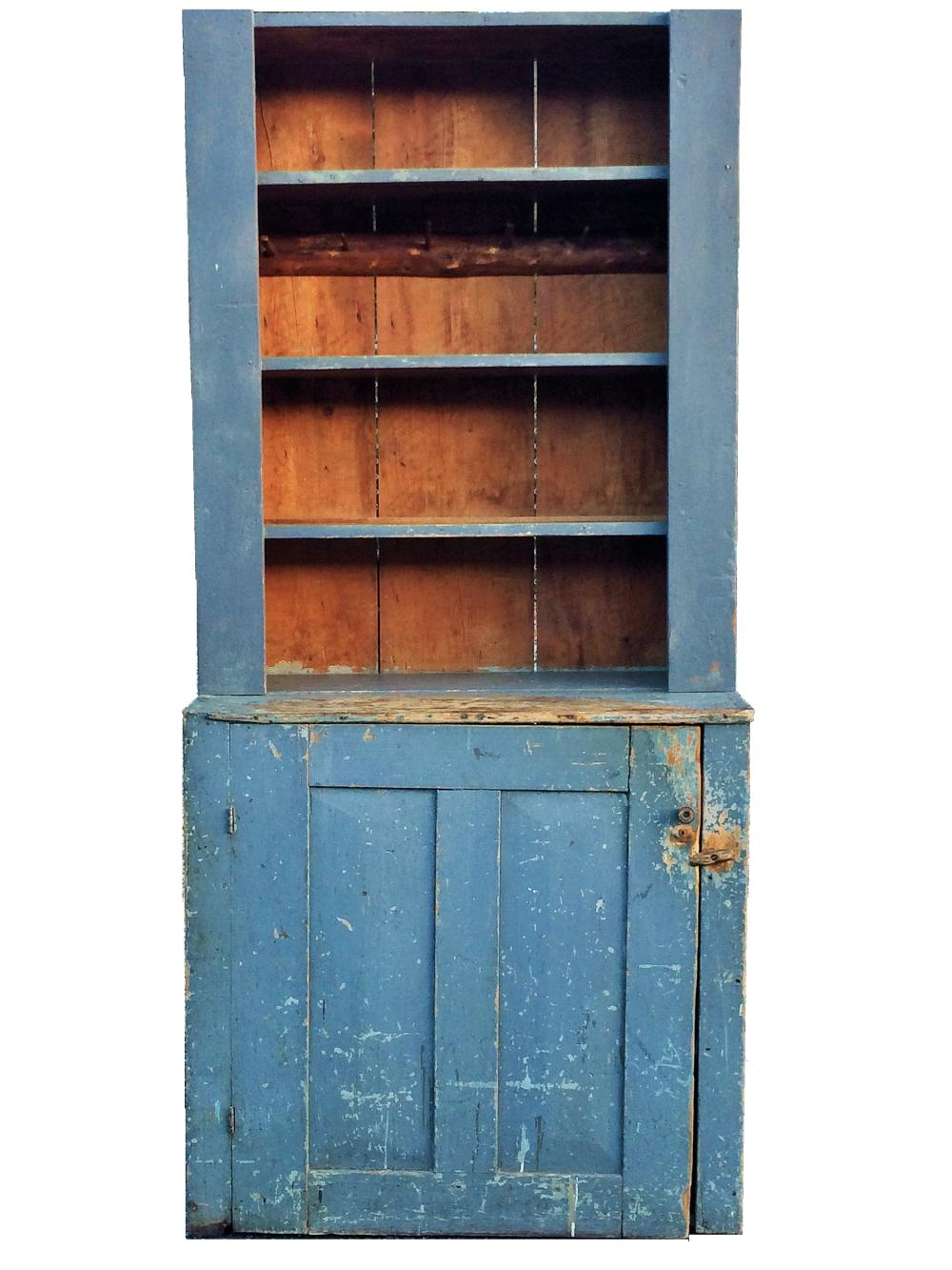 19TH C STEPBACK BLUE PAINTED CUPBOARD
