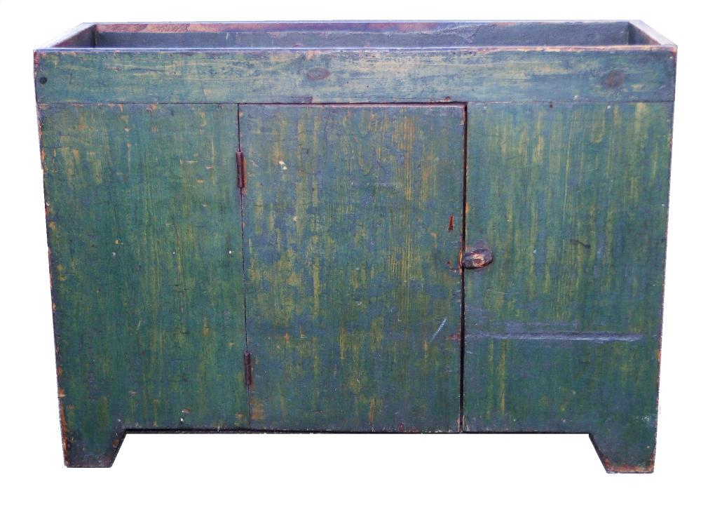 19TH C GREEN PAINTED DRY SINK