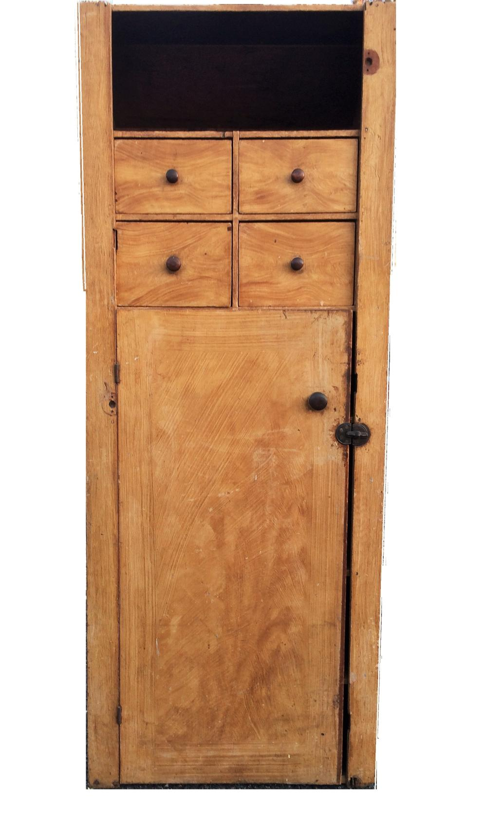 19TH C GRAIN PAINTED CUPBOARD WITH DRAWERS