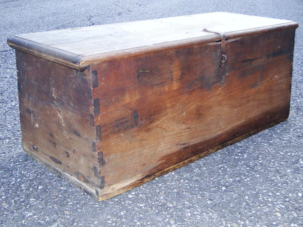 18TH C CANTED SEA CHEST