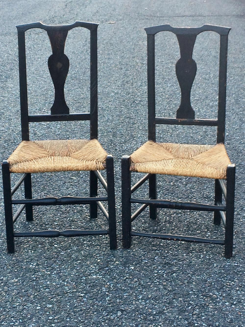 EARLY NEAR PAIR CHIPPENDALE SIDE CHAIRS