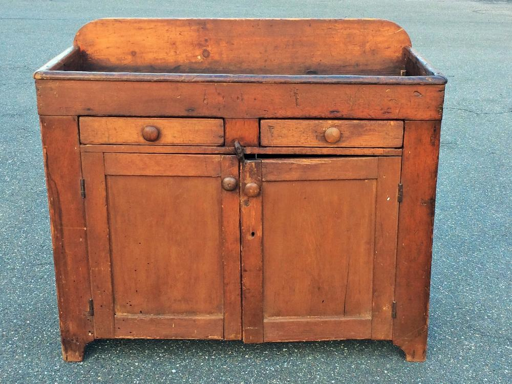 19TH C DRY SINK W/ TWO DRAWERS