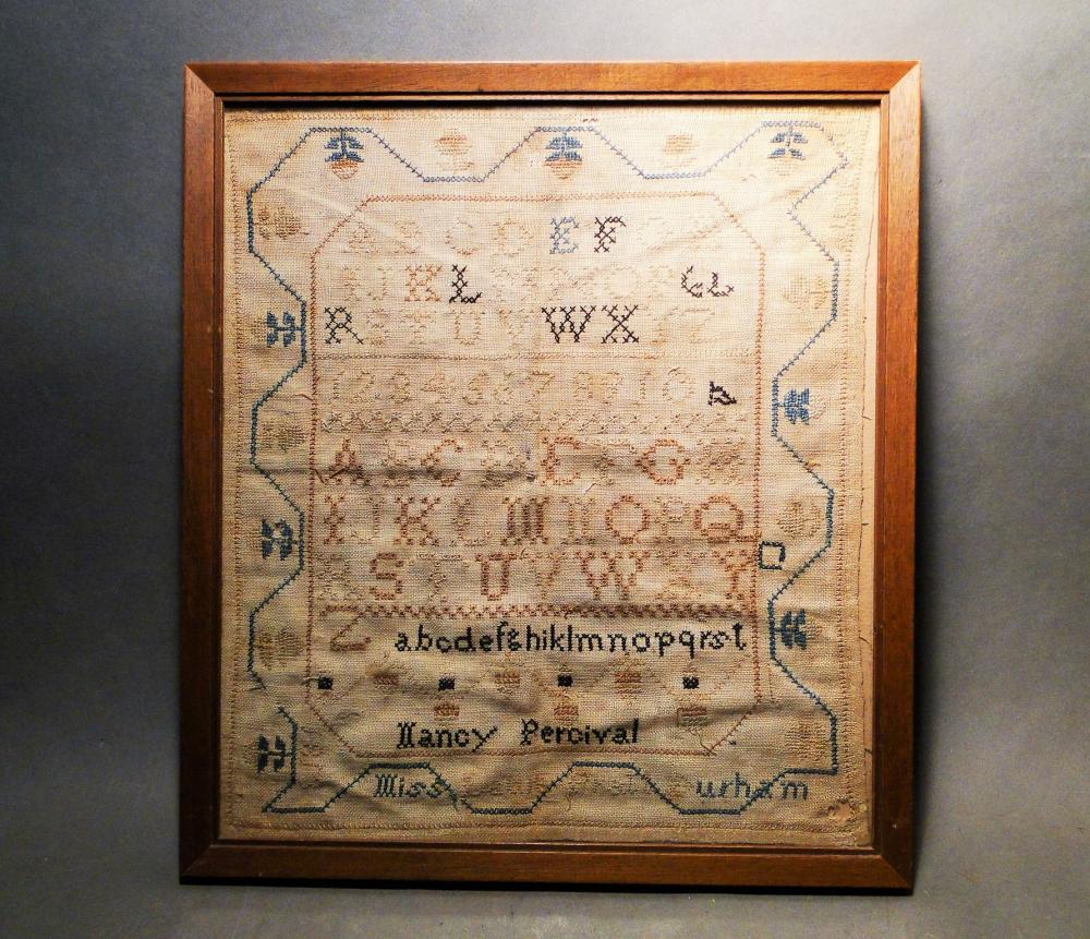 1813 DATED NEEDLEWORK SAMPLER NANCY PERCIVAL