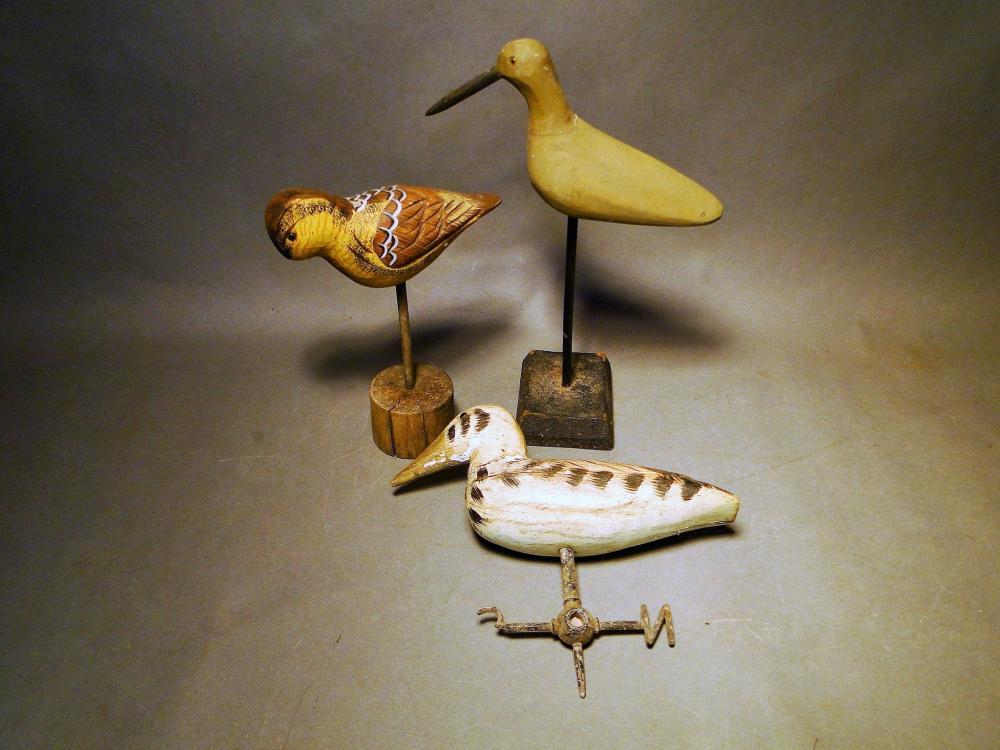 LOT THREE CARVED SHORE BIRDS