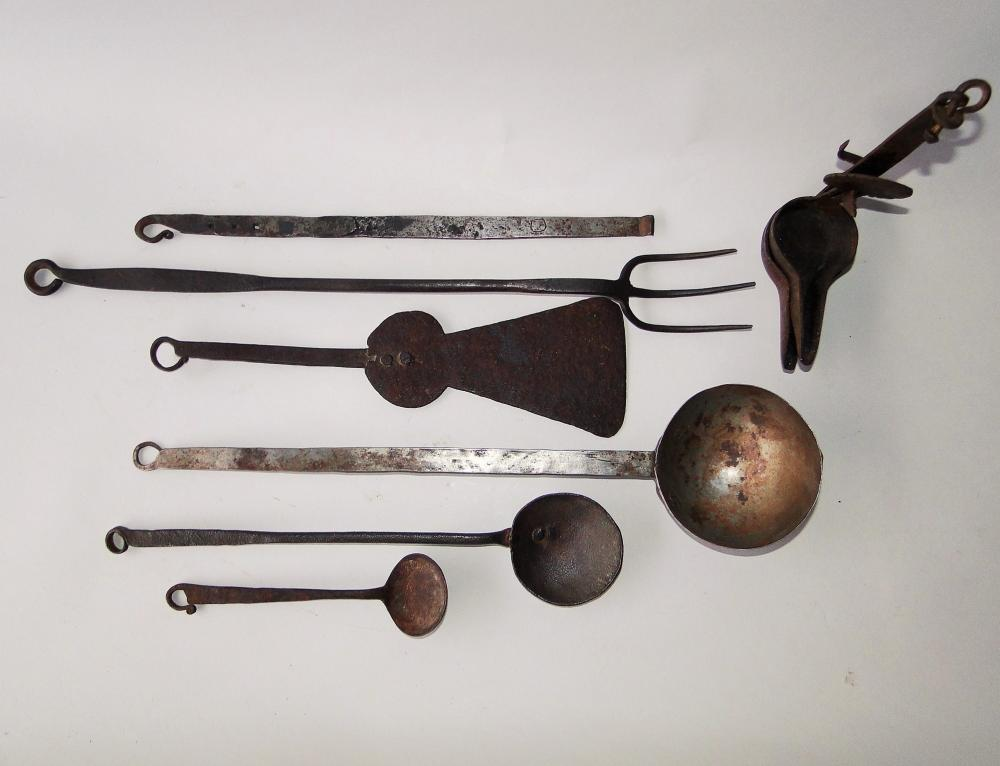 SIX 18TH C WROUGHT IRON KITCHEN IMPLEMENTS