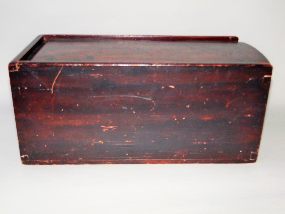 LARGE 19TH C GRAIN PAINTED SLIDE BOX