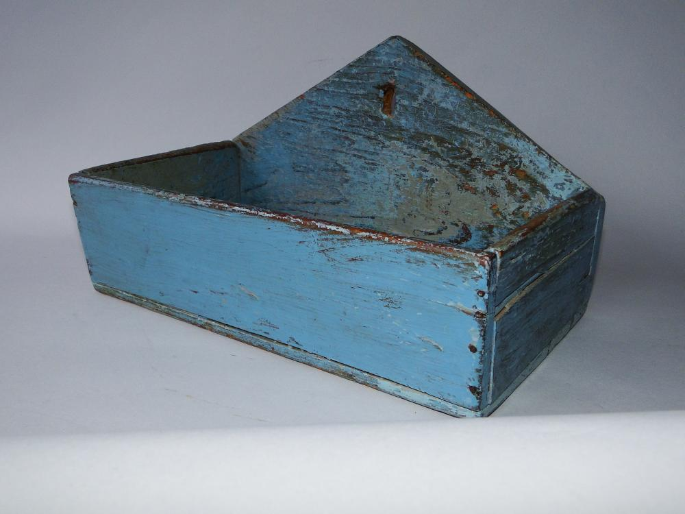 19TH C BLUE PAINTED WALL BOX