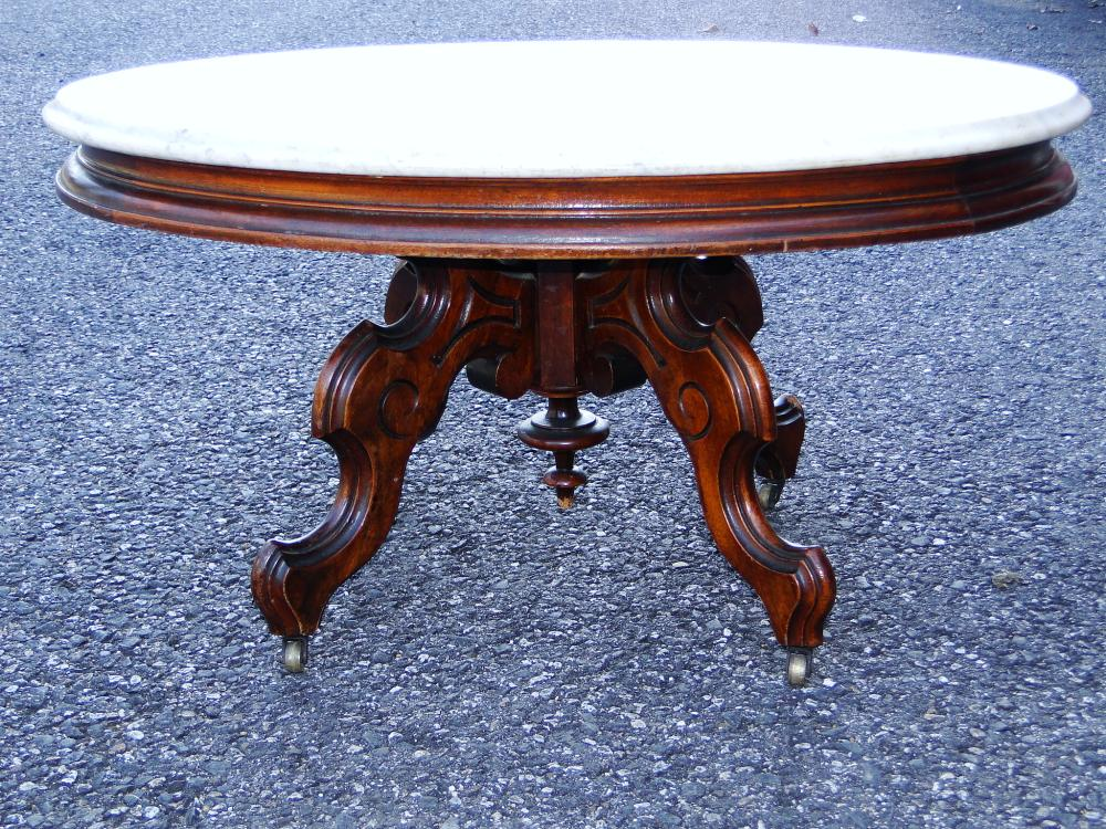 19TH C MARBLE TOP VICTORIAN LOW TABLE