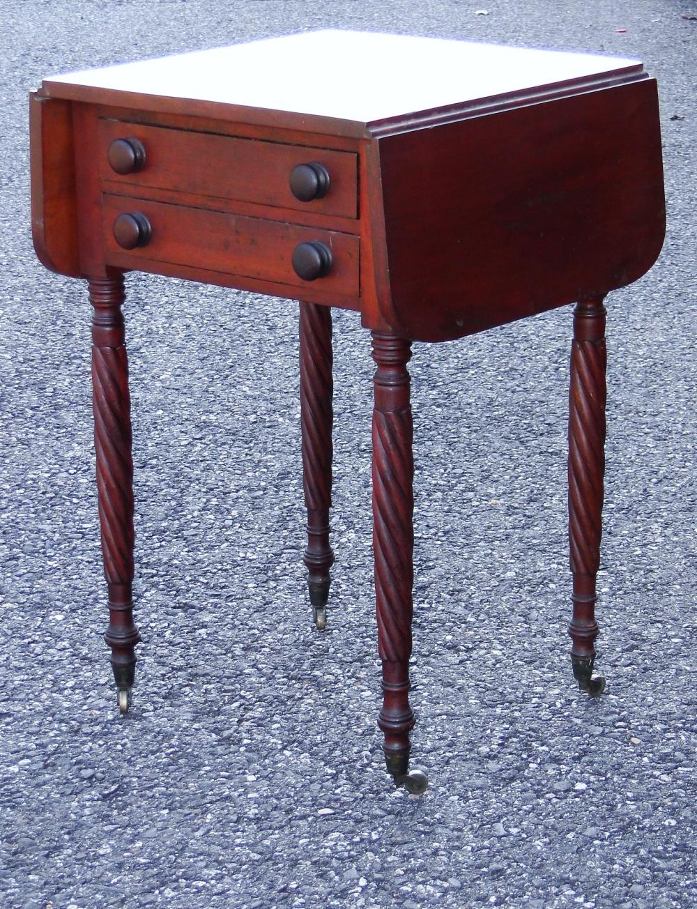 19TH C FEDERAL MAHOGANY TWO DRWR STAND