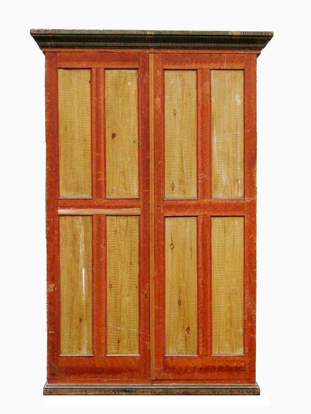 19TH C GRAIN PAINTED TWO DOOR CUPBOARD