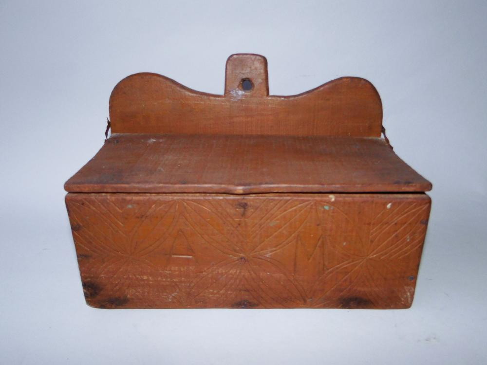 19TH C CARVED WALL BOX W/ INITIALS