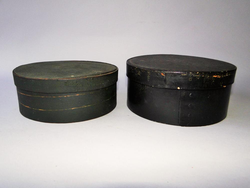 TWO 19TH C PAINTED PANTRY BOXES