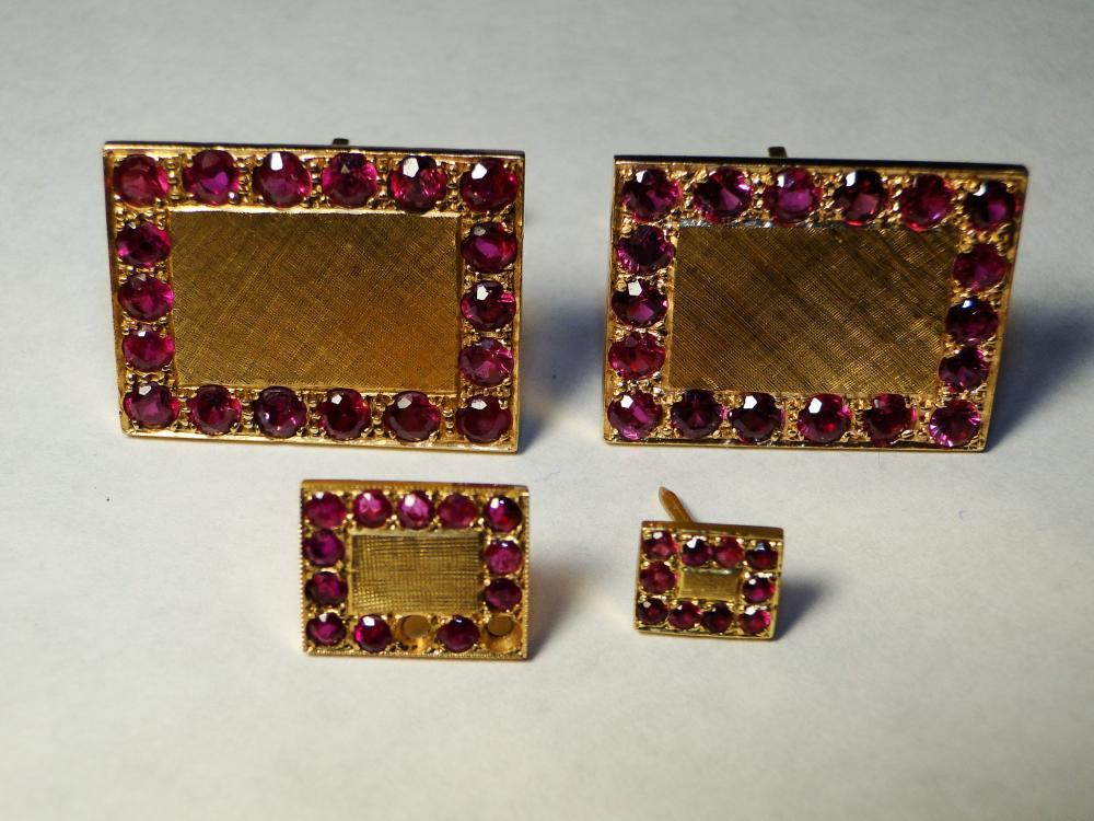 14K GOLD AND RUBIES CUFFLINKS / LAPEL PINS