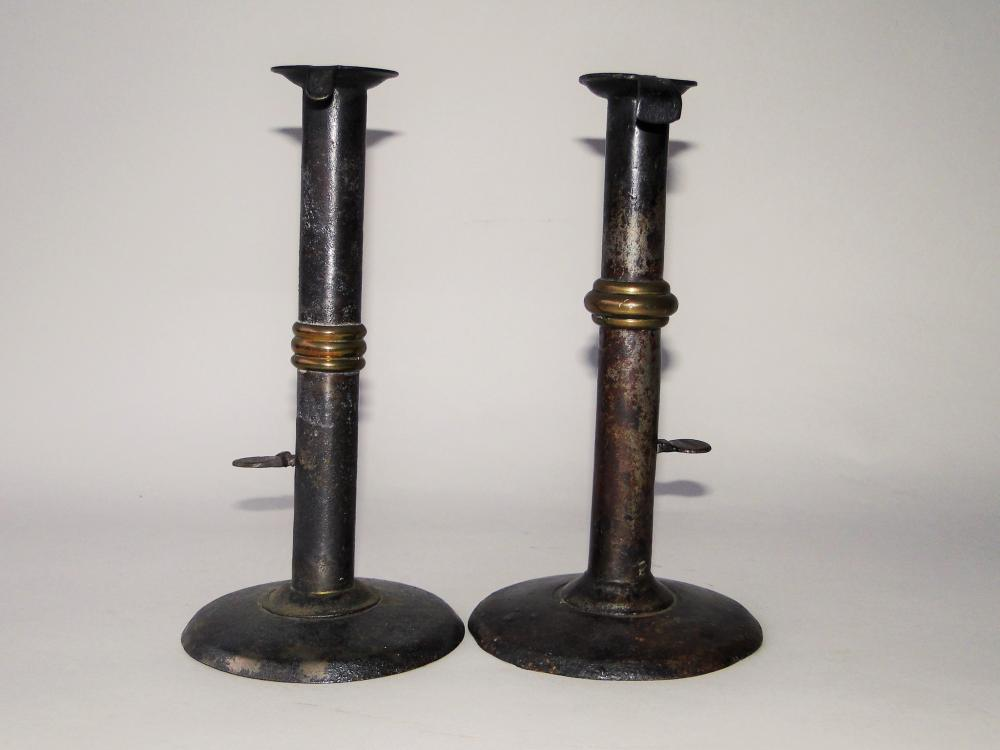 TWO 18TH C WEDDING RING BANDED CANDLESTICKS