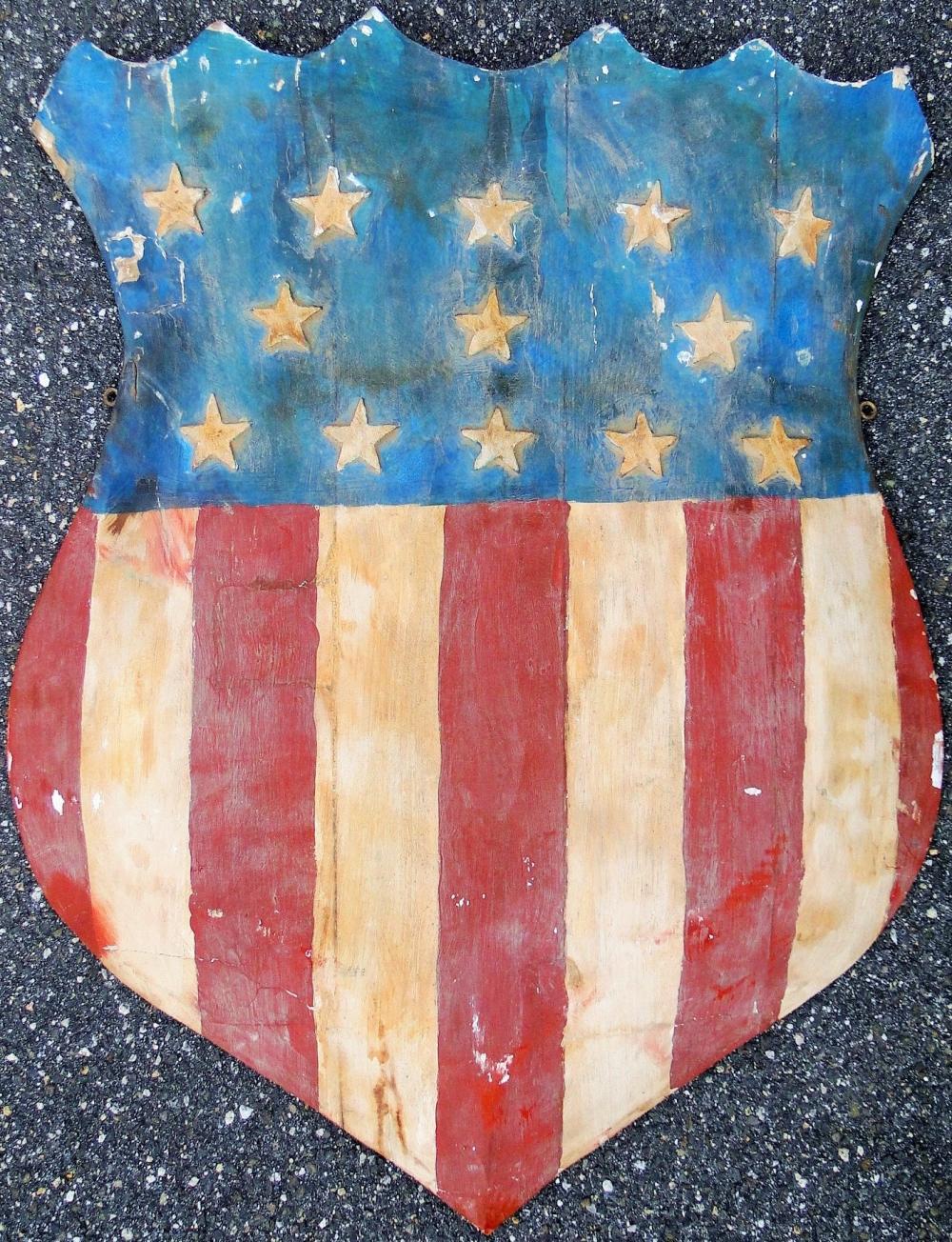 CARVED WOOD FOLK ART AMERICAN SHIELD
