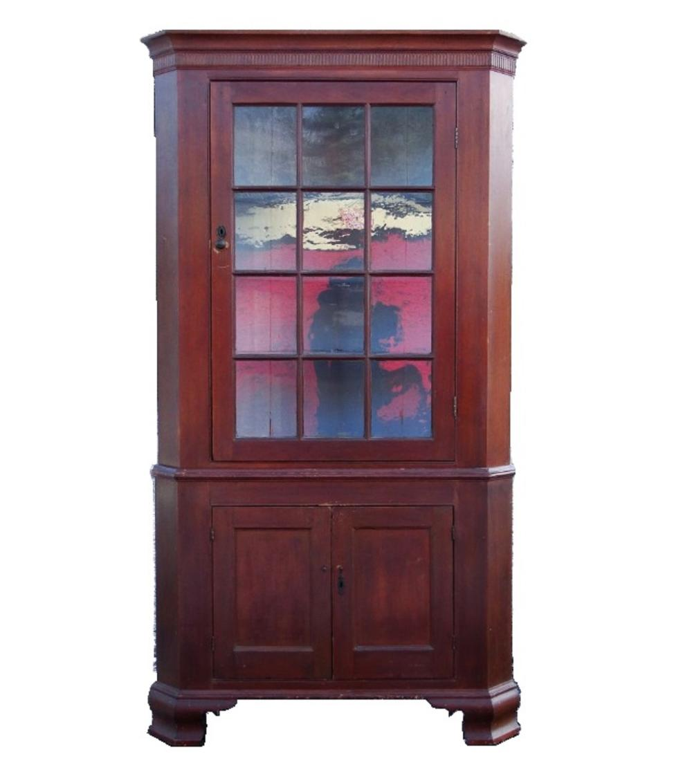 EARLY 19TH C RED PAINTED CORNER CUPBOARD