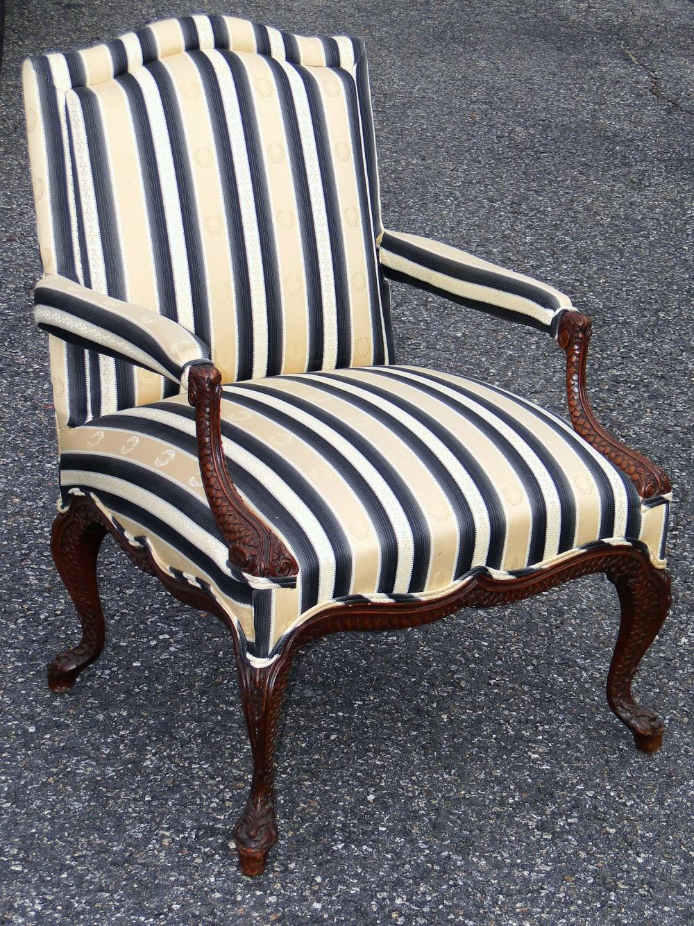 19TH C UPHOLSTERED ARM CHAIR