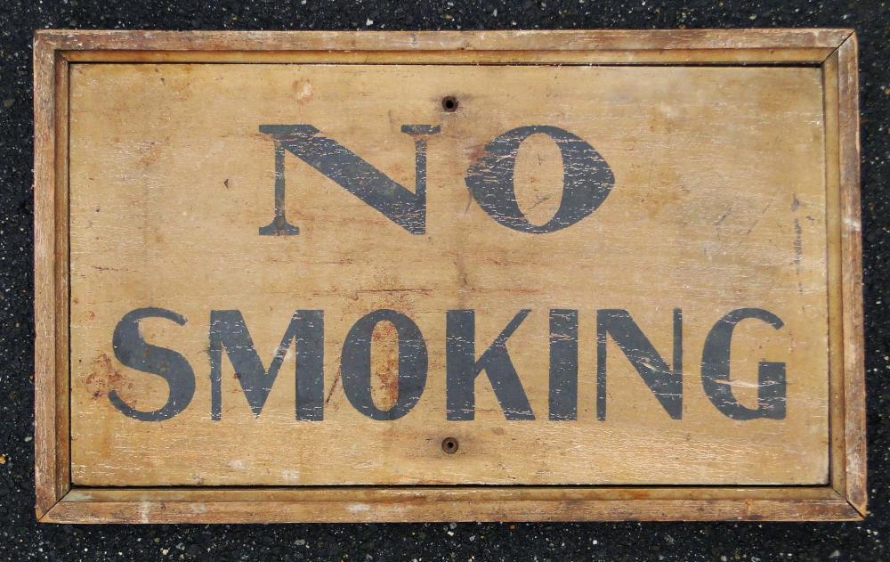 19TH C PAINTED NO SMOKING SIGN