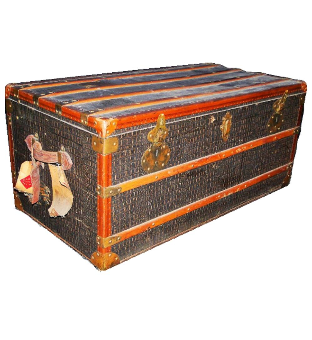 19TH C LEATHER TRAVEL TRUNK
