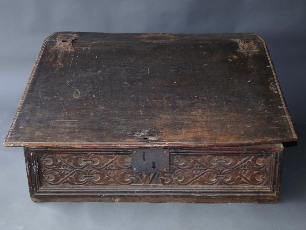 17TH C WILLIAM AND MARY CARVED BIBLE BOX