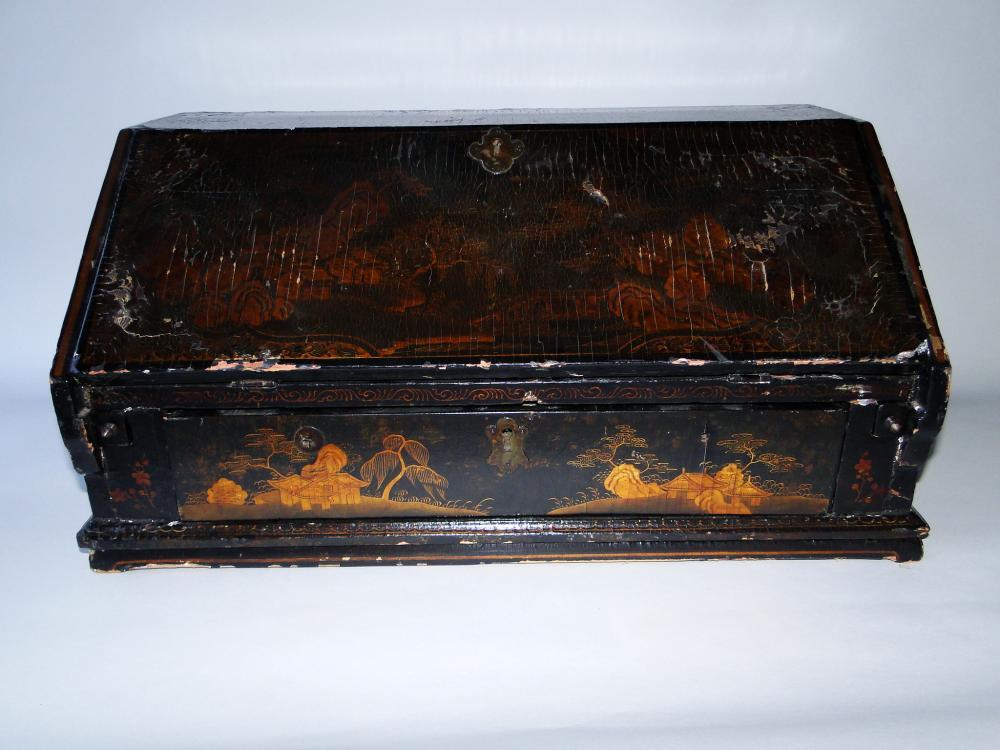 19TH C JAPANNED DESK BOX