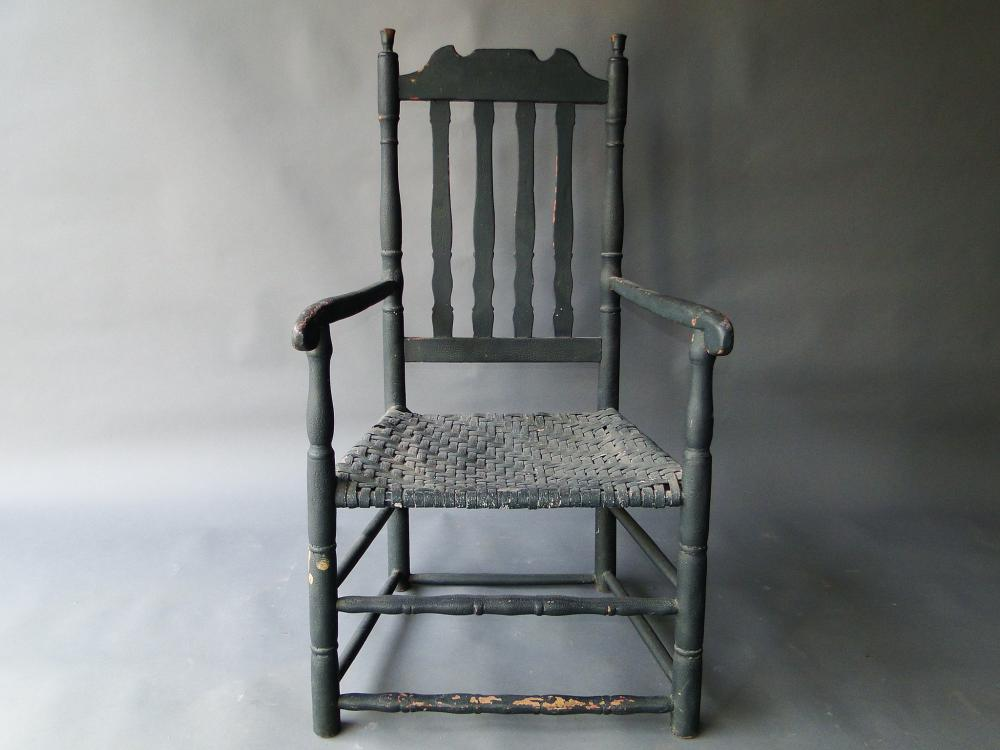 EARLY 18TH C BANISTERBACK ARM CHAIR