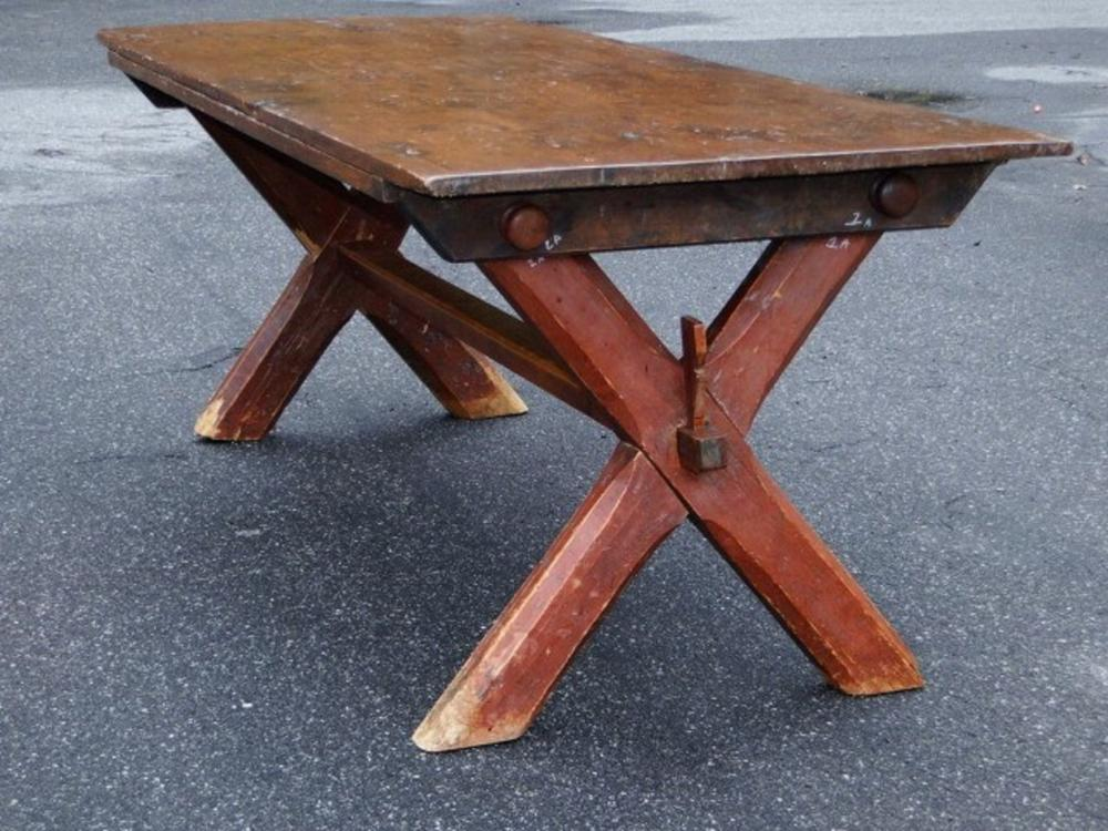 EARLY 19TH C RED PAINTED SAWBUCK TABLE