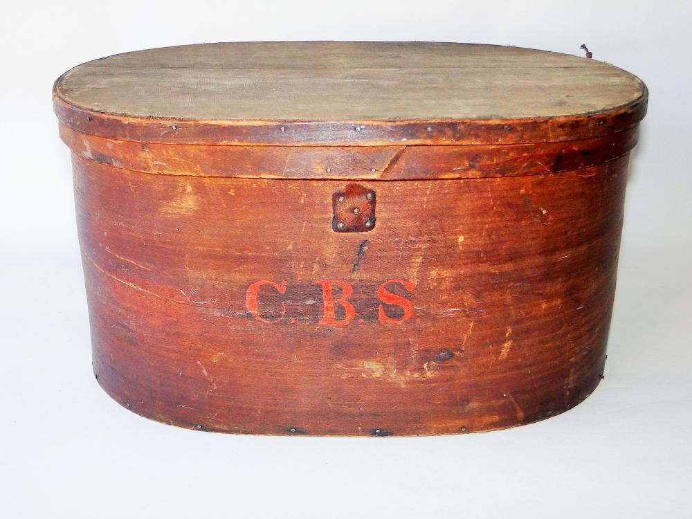19TH C HAT BOX MARKED CBS