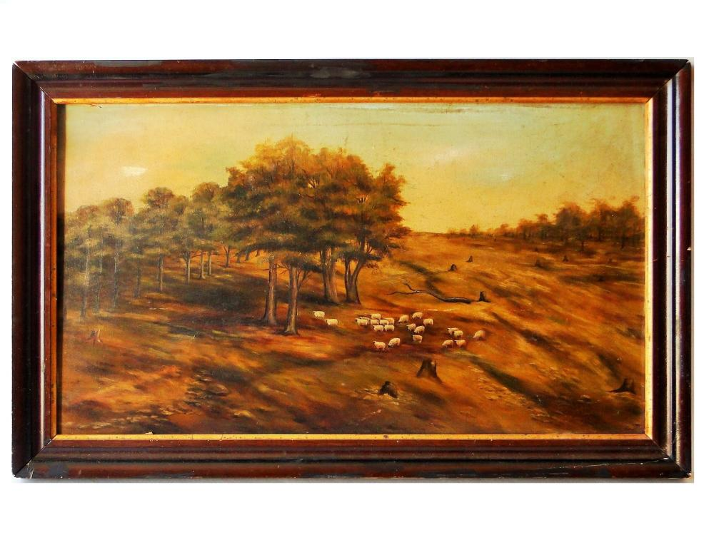 19TH C COUNTRY FOLK PAINTING SHEEP IN PASTURE