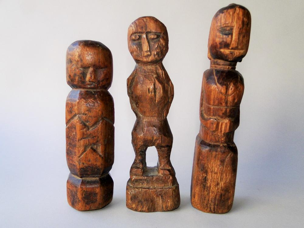 LOT OF THREE EARLY CARVED WOODEN DOLLS