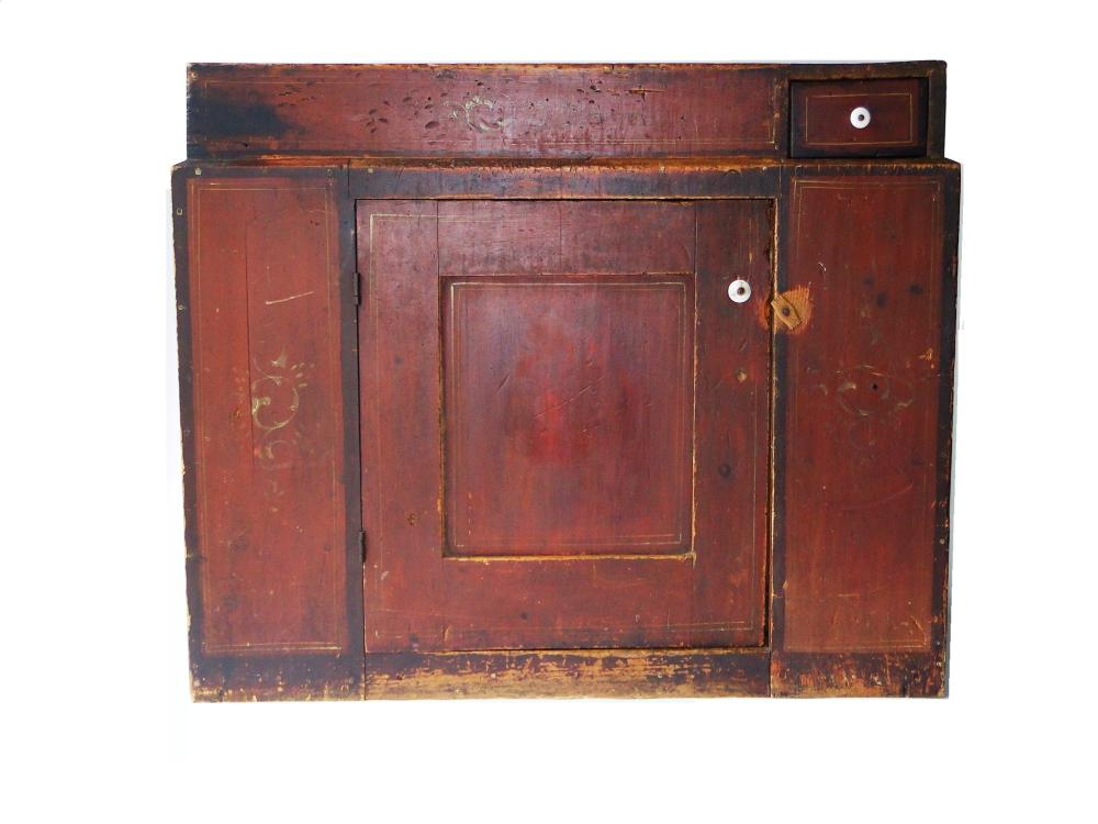 EARLY 19TH C RED PAINTED DRY SINK