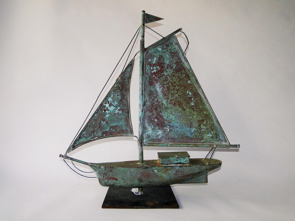 20TH C COPPER SAILBOAT WEATHERVANE