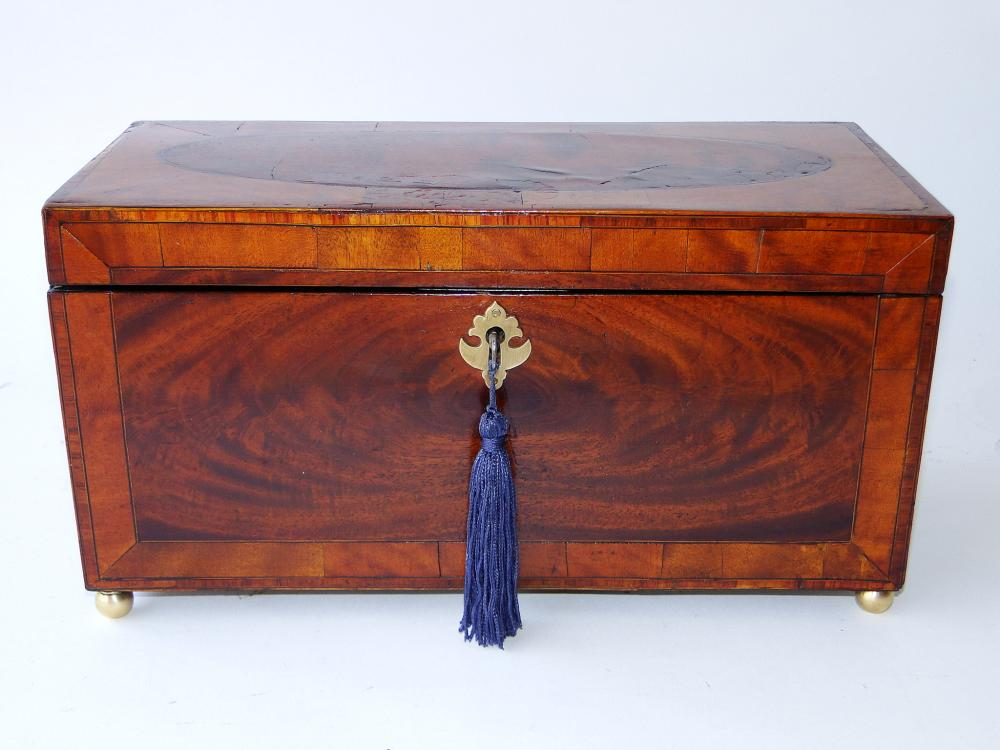 LARGE 18TH C INLAID TEA CADDY