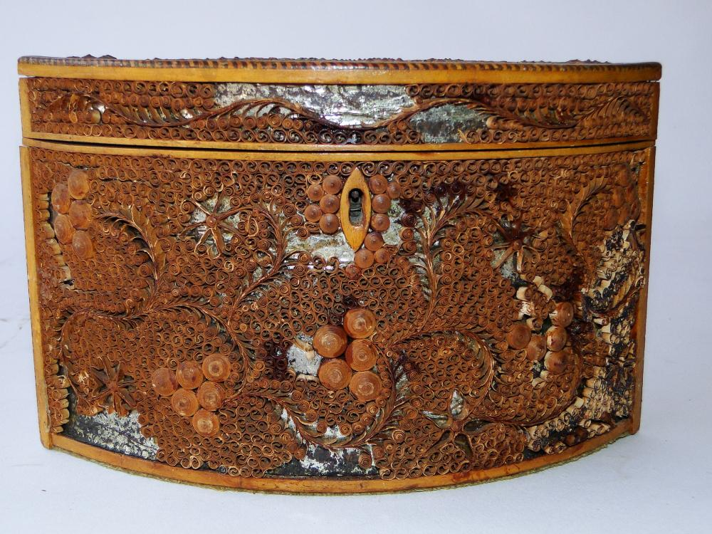 19TH C SCROLLED PAPER TEA CADDY