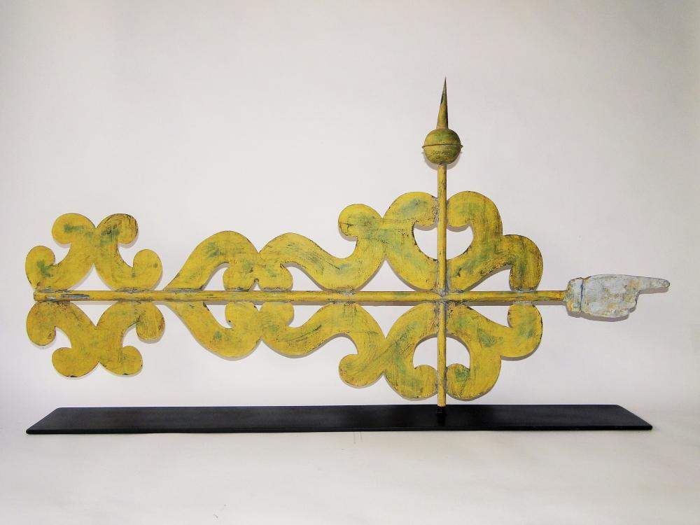19TH C  BANNER WEATHERVANE W/ HAND