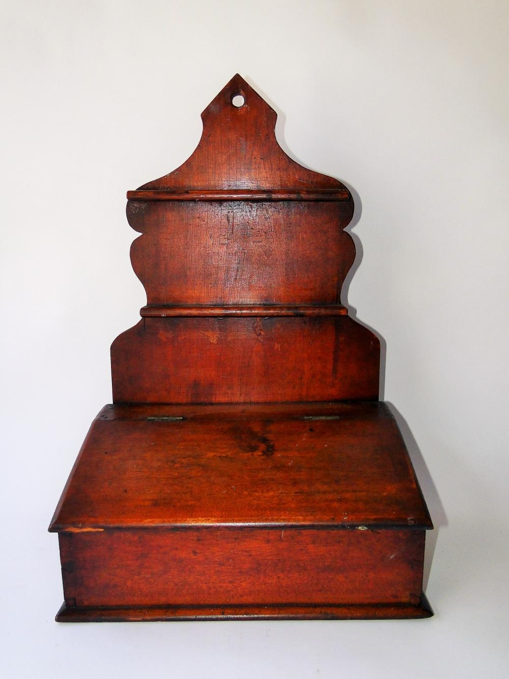 18TH C SPOON RACK WALL BOX