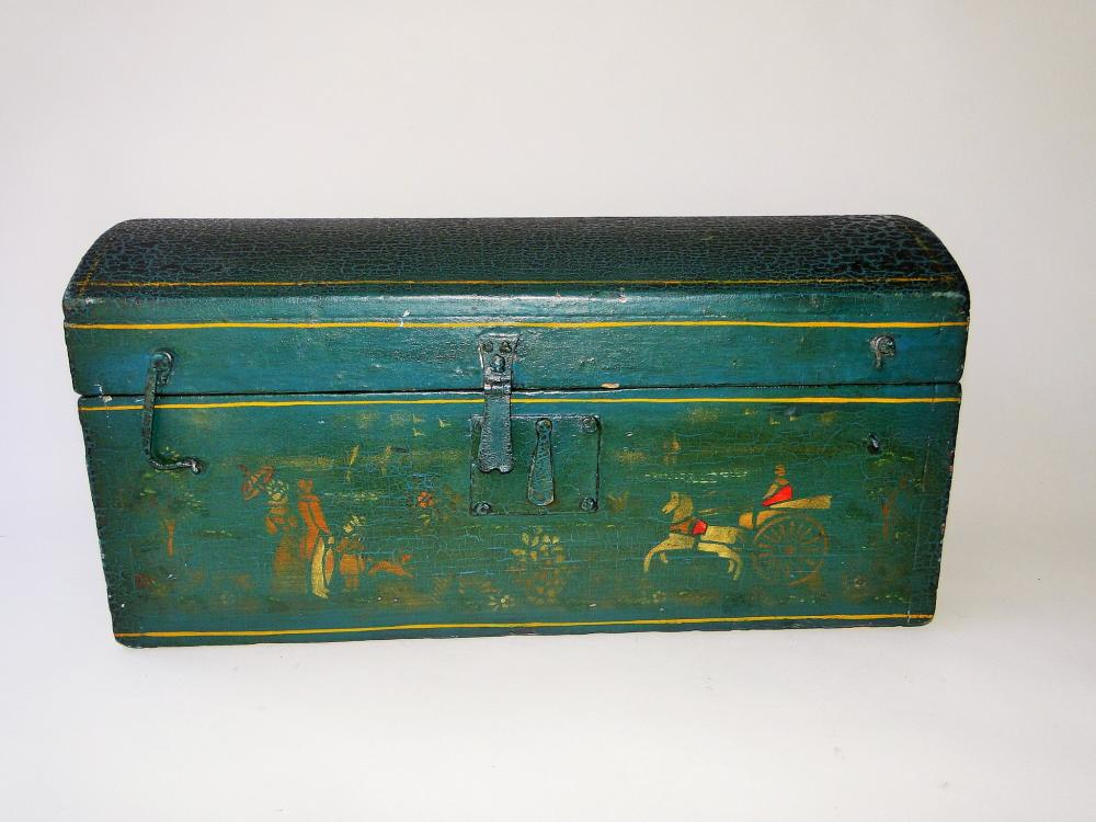 18TH C PAINTED DOME TOP BOX