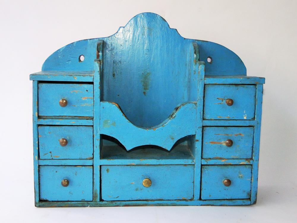 19TH C BLUE PAINTED SPICE CHEST